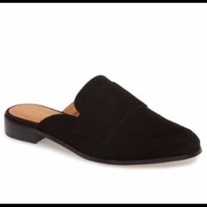 Halogen Violet Loafer Mule Black Suede
